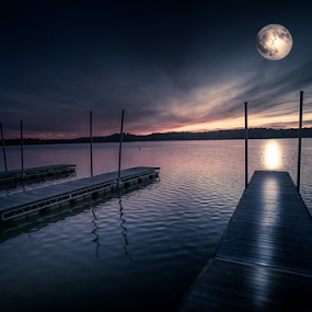 Moonshine in October | Digital Art by Jim Crotty by Jim Crotty - Digital Art Places ( caeasr's creek state park, ohio photography, moon, mystical, autumn, jim crotty, digital art, reflections, light, composite,  )