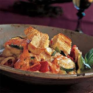 Zucchini Casserole with Red-Pepper Aioli.