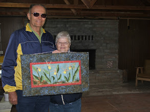 Photo: Camp - Heppners with orchid wall hanging made by Mary Lou