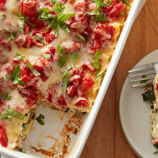 Chicken Alfredo Caprese Lasagna.