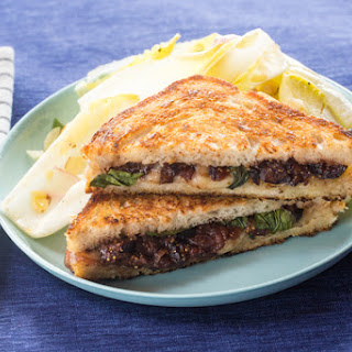 Grilled Fontina & Fig Jam Sandwiches with Endive, Basil & Almond Salad