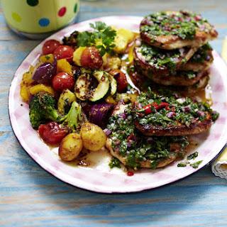 Steak with Roast Vegetable Salad.