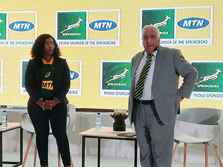 MTN executive for Consumer Business Mapula Bodibe (L) and SA Rugby president Mark Alexander at a press conference in MTN head offices in Roodepoort, west of Johannesburg, on Thursday May 10 2018.