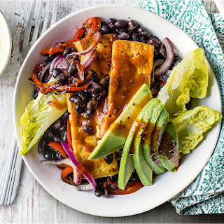 Buffalo Tofu And Black Bean Fajita Bowls.