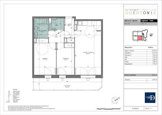 Vente appartement 3 pièces 59,65 m2