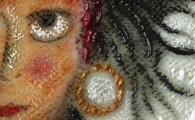 """Les cheveux de la Manouche : détail du tableau """" L'arbre à guimauve et la petite Manouche """" de Couleur Parenthèse"""