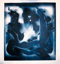 Photo: © Olivier Perrot Photogramme 1999 Portrait 1000x1000mm Papier baryte Virage bleu Ref : Portrait-08