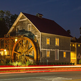Johnson Mill at Night by Jay Stout - Buildings & Architecture Public & Historical (  )