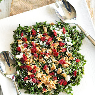 Chopped Kale Salad with Cranberries, Feta, and Walnuts.