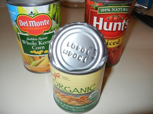 Drain cans of 2 veggies.  I used corn and mushrooms but carrots, green...