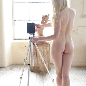 Picture this... by Nigel Johnson - Nudes & Boudoir Artistic Nude ( blonde, nude, hands, camera, raphaella, log, hair, katy cee )