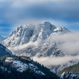 Through the clouds by Jeff Colby - Landscapes Mountains & Hills ( sky, mountain, blue, snow, snow covered, clouds, mountain range, skyline, ridge,  )