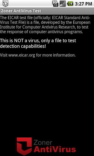 Zoner AntiVirus Test 1.0.0 screenshots 1