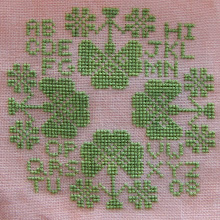 Photo: Completed 16 Mar 2008. Quaker Odds (2005) by The Workbasket stitched on Silkweaver's Peachy Keen 36ct Edinburgh linen. The stitching is in Avocado from The Gentle Art Simply Shaker. Stitch count: 63w x 63h.