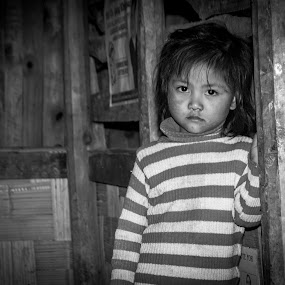 waiting for her mother by Arubam Meitei - Babies & Children Child Portraits ( black and white, innocent, child portrait, candid, #lightroom )