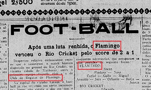 Jornal da época comprova time do Flagay