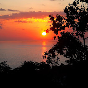 Manuel Antonio Sunset by Donovan Twaddle - Landscapes Sunsets & Sunrises ( hills, warm, colorful, latin america, tropical, pacific, sea, forest, ocean, hues, rainforest, sky, jungle, color, sunset, costa rica, manuel antonio, central america,  )
