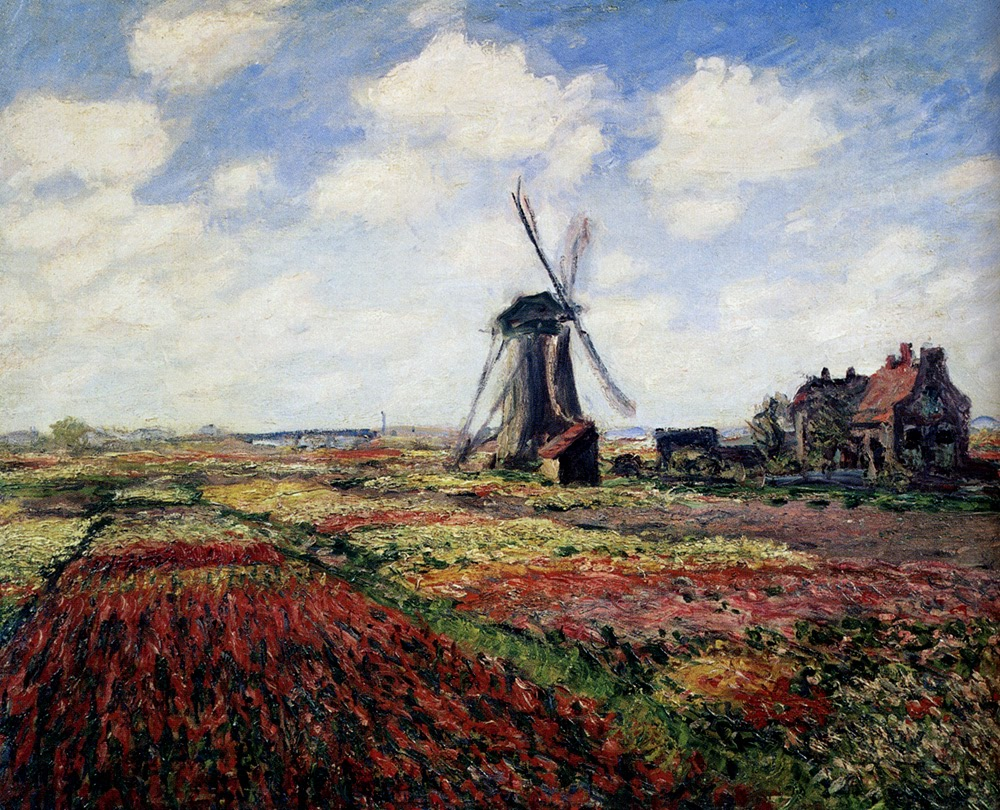 Monet Tulip Fields With The Rijnsburg Windmill by Claude Monet 1886.