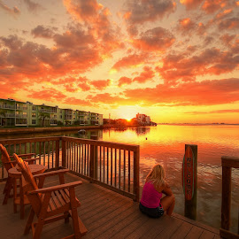 Watching The Sunset by Edward Allen - City,  Street & Park  Vistas (  )