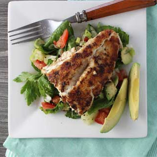 Blackened Snapper with Fresh Veggie Salad