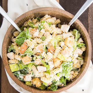 Chicken Caesar Salad with Pasta.