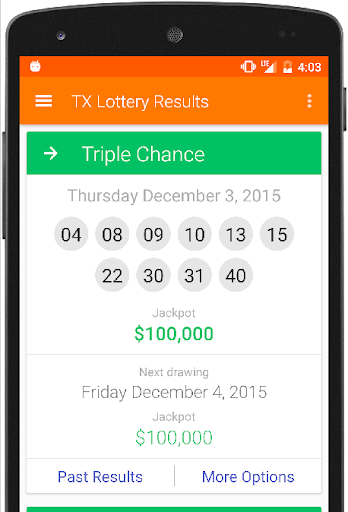 Results for Texas Lottery