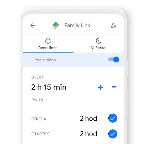 Telefon zobrazující, jak pomocí aplikace Family Link můžete nastavit denní časové limity pro zařízení