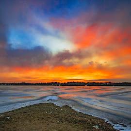 duality by Duane Vosika - Landscapes Sunsets & Sunrises ( landscapes, nature, winter, frozen, ice, nebraska, clouds, twilight, red, nikon, omaha, blue, golden hour )