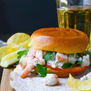 Easy Poached Shrimp Salad Sandwich.