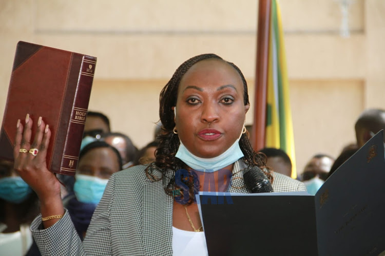 Anne Kananu when she took the oath of office as the deputy governor Nairobi county on January 15, 2021.