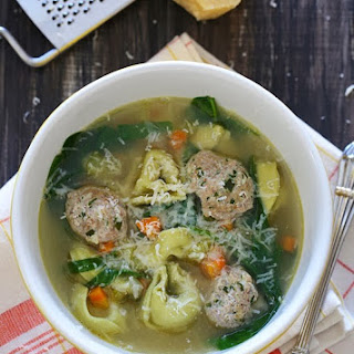 Turkey Meatball Spinach Tortellini Soup.