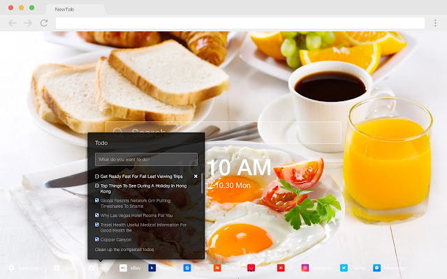 Breakfast hot food HD New Tab Page Theme