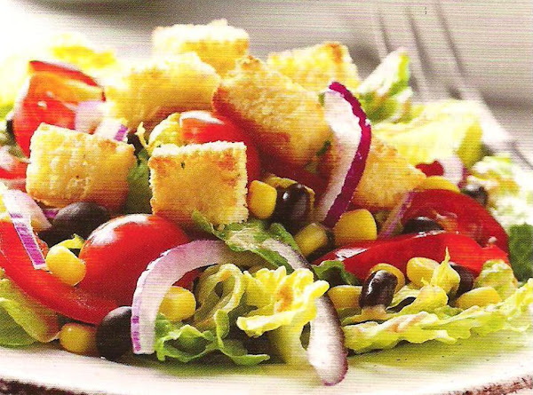Southwestern Seven Layer Salad With Corn Muffin Croutons Recipe