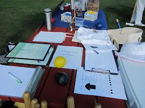Photo: Welcome table--menu, shirts, trophies, coffee