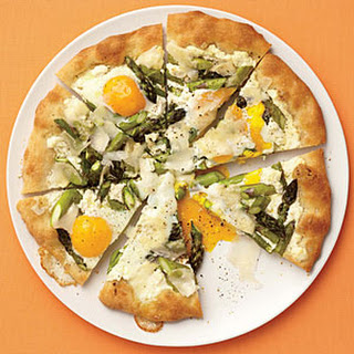 Asparagus, Ricotta, and Egg Pizza.
