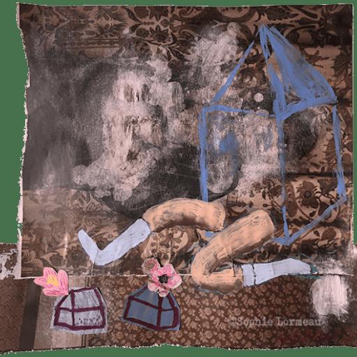 insouciance-chaussettes-bleues-enfance-childhood-souvenir-maison-deracinee-racine-temps-sophie-lormeau-peinture-artiste-contemporaine-papier-magazine-upcycling-chagall-singuler-art-figuratif-recyclage-colorful