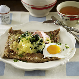 Spinach, Ham and Egg Crêpes.