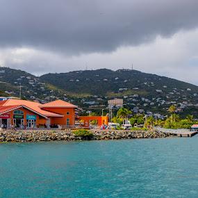 Across the Bay by Debbie Jones - City,  Street & Park  Vistas ( bay, st thomas, caribbean, virgin islands, crown bay )