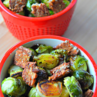 Maple Roasted Brussel Sprouts with Tempeh Bacon