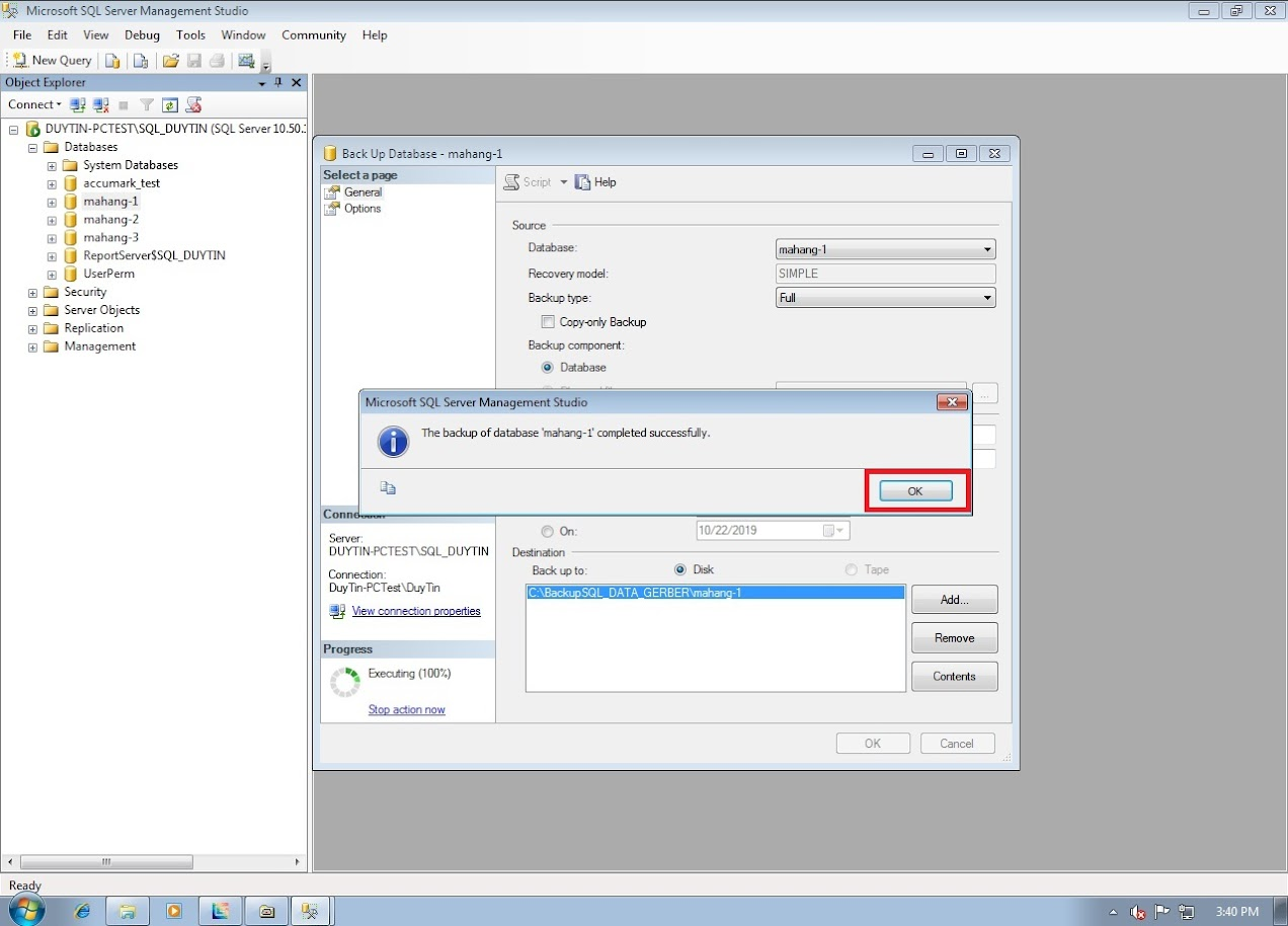 Hướng Dẫn Backup Và Restore Databases Gerber Accumark Trong SQL Server 10