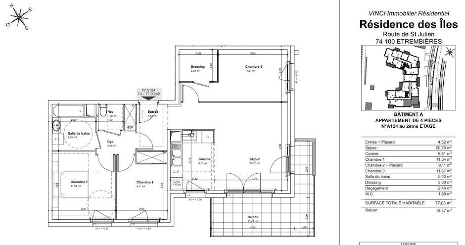 Location  appartement 4 pièces 77 m² à Etrembières (74100), 1 129 €