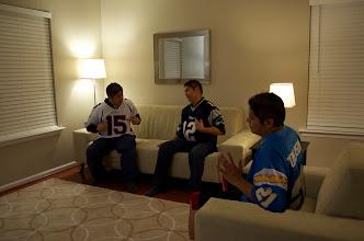 Photo: Talkin' football!