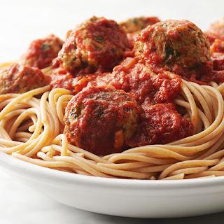 Turkey Kale Meatballs and Spaghetti.