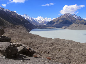 Photo: Tasman Lake, the glacier is at the far end, covered with rocks and gravel.
