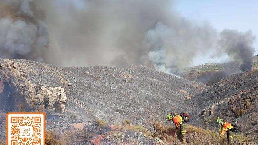 El Infoca ha ampliado el dispositivo en intervención en el incendio forestal de Terque. Fotos de la cuenta de Twitter del Plan infoca