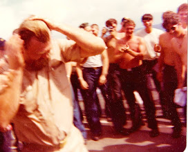Photo: 1976 Goodnatured Shellback EM Chief Graffing during Pollywog Day.