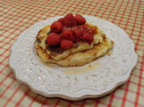 "Cheesecake Pancakes with Berry-Lemon Syrup ""Delicious, moist and fluffy!"" - Lauratweety"