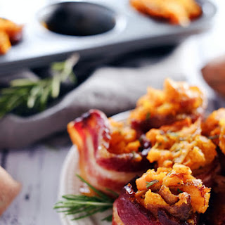 Mashed Sweet Potato Bacon Cups