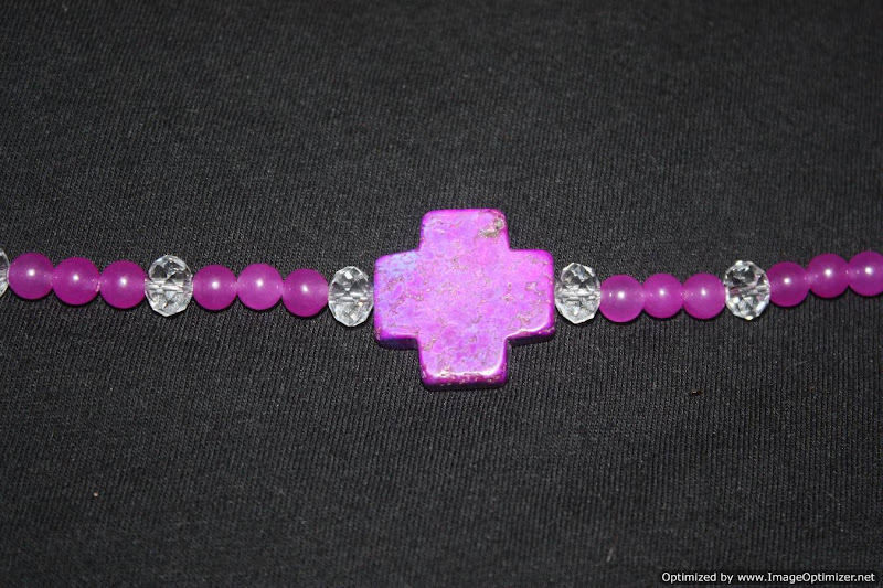 Photo: Purple agate, Crystal Swarovski, and a purple howlite cross bracelet with Hill tribe silver chain extender and sterling silver butterfly charm.