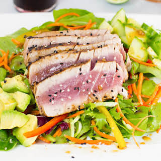 Seared Ahi Salad with Ginger Sesame Dressing.